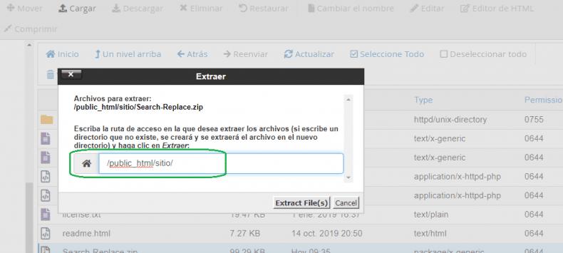 cPanel ruta public_html