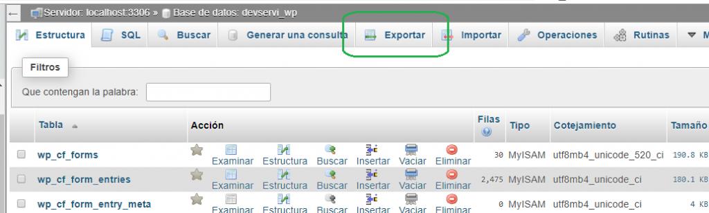 Exportar base de datos